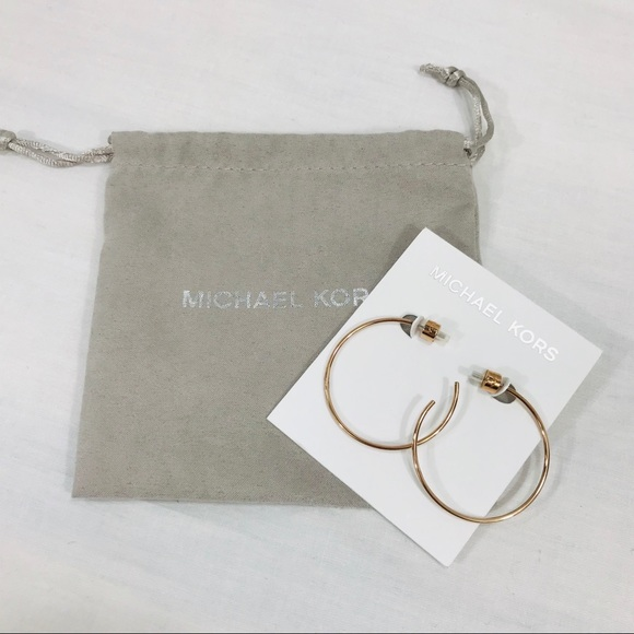 Michael Kors Jewelry - Micheal Kors Rose Gold Toned Hoop Earrings NWT
